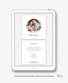 carte de remerciements naissance fille numérique-bohème chic-carte de remerciement digital-à envoyet via watsapp-messenger-facebook-reseau sociaux-    -à imprimer soi-même-carte de remerciement naissance à envoyer par mail