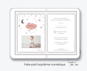 faire part bapteme fille numérique-Faire-part baptême digital-électronique-fichier Pdf-nuage lune etoile