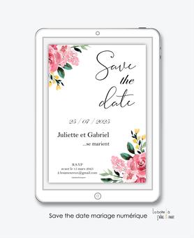 Save the date mariage numérique-Save the date mariage digital-Save the date numérique-pdf numérique-Save the date mariage electronique -Save the date à envoyer par mms-par mail-réseaux sociaux-whatsapp-facebook-messenger-floral-fleurs-pivoines-champêtre