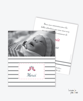 Carte de remerciement naissance fille-marin-bretagne-bottes de pluie-rayures