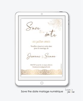 Save the date mariage numérique-Save the date mariage digital-Save the date numérique-pdf numérique-Save the date mariage electronique -Save the date à envoyer par mms-par mail-réseaux sociaux-whatsapp-facebook-messenger-pivoines-dorure-doré-chic-dentelle