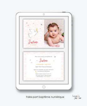 faire-part baptême numérique-faire part baptême digital -faire part numérique-pdf imprimable-pdf numérique-faire part connecté- colombe religieuse -faire part à imprimer soi-même-faire-part à envoyer par sms  ou mms- faire-part à envoyer par mail