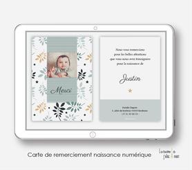 carte de remerciements naissance garçon numérique-feuilles et étoiles-automne-carte de remerciement digital-pdf imprimable-pdf numérique-faire part connecté-    -à imprimer-carte de remerciement naissance à envoyer par mail