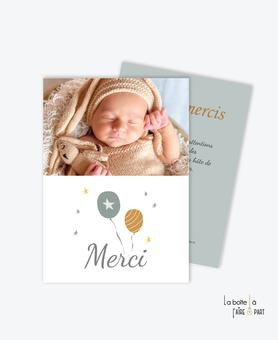 carte de remerciement naissance garçon ballons volants- etoiles -couleur moderne-photo