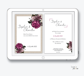 faire-part mariage numérique-faire part mariage digital-faire part numérique-pdf numérique-faire part mariage electronique -faire-part à envoyer par mms-par mail-réseaux sociaux-whatsapp-facebook-messenger-Pivoine coloré-kraft-bouquet de fleurs-rafiné