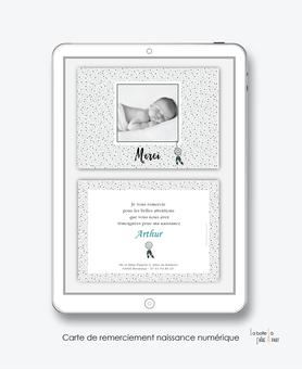 Carte de remerciements naissance garçon numérique-carte de remerciements garçon électronique-fichier Pdf-attrape rêves à pois-à imprimer soi même-A envoyer via les réseaux sociaux whatsapp-messenger-facebook-mms et mail