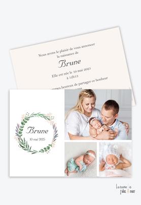 faire part naissance fille multiple photo-3photos-triptyque-couronne d'eucalyptus-vegetal-champêtre
