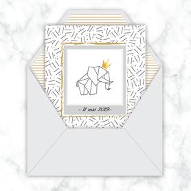 faire part bapteme garçon numérique animé-Faire-part baptême digital-électronique-fichier Pdf-envoyer via les reseaux sociaux-whatsapp-facebook-messenger- Eléphant couronne-origami-motif traits -couronne dorée