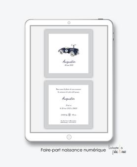 faire-part naissance garçon numérique-faire part digital-faire part numérique-imprimable-pdf numérique-faire part connecté-voiture vintage bleue-faire-part à envoyer par sms-mms-par mail-réseaux sociaux-whatsapp-facebook-whatsapp-messenger