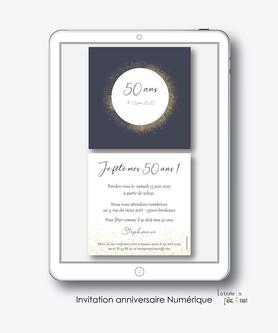 Invitation anniversaire femme numérique-Invitation électronique-Invitation digital-imprimable-pdf numérique-Invitation connecté-Invitation anniversaire à envoyer par mms-par mail-réseaux sociaux-whatsapp-facebook-couronne dorée-or-paillettes- format carré