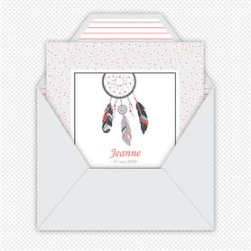 faire-part naissance fille numérique-faire part naissance digital-faire-part digital  - attrape reves  à pois-plume-format carré -à imprimer-à envoyer par mail -à envoyer par mms-sms-réseaux sociaux
