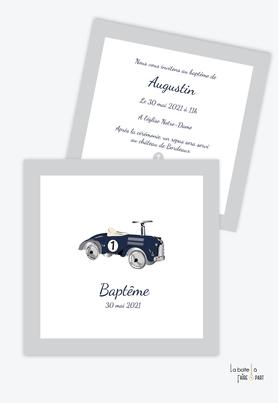 faire part baptême garçon -voiture vintage-jouets ancien-motif vintage-vieille voiture-format carré-jouets en bois