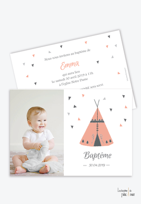 Faire part bapteme fille tipi indien rose avec photo