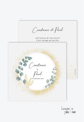 Faire-part mariage-couronne d'eucalyptus-doré-paillette--format carré-