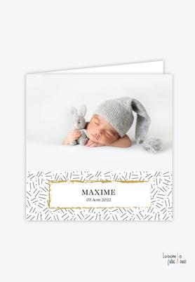 faire part naissance garçon-Eléphant couronne-Elephant en origami-motif graphique- couronne doré-faire part animal-faire part plié