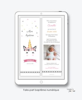 faire-part baptême fille numérique-faire-part baptême digital-électronique-pdf-à imprimer-licorne dorée-fleurs-photo-format marque page-reseaux sociaux-mms-whatsapp-Messenger