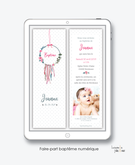 faire part bapteme fille numérique--Faire-part baptême digital-électronique-fichier Pdf-attrape rêves fleuri-à imprimer soi même
