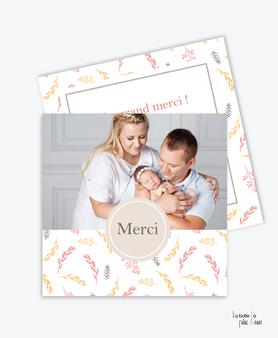 carte de remerciement naissance fille-couronne d'eucalyptus-champêtre-photo-pas cher-