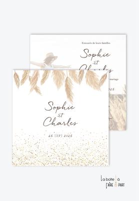 Faire-part mariage-champêtre-bohème-blé et paillettes dorés-format carré-recto/verso ou plié en 2