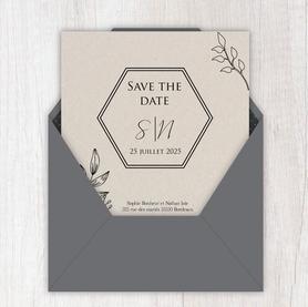 Save the date mariage gif animé- Save the date mariage virtuel-Save the date mariage digital-Save the date mariage numérique animé-électronique-à envoyer via les réseaux sociaux-whatsapp-facebook-messenger-mms-feuillage -kraft