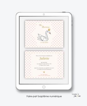 faire part bapteme fille numérique-Faire-part baptême digital-électronique-fichier Pdf-cygne avec couronne dorée-à imprimer soi même