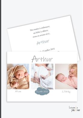 faire part naissance garçon moderne-pas cher-multiple photo-nuage-3photos-triptyque-