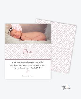 carte de remerciement naissance fille - montgolfiere-plume oiseau-rose-motif vintage