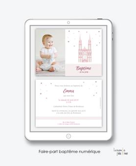 faire part bapteme fille numérique-Faire-part baptême digital-électronique-fichier Pdf-cathédrale-notre dame