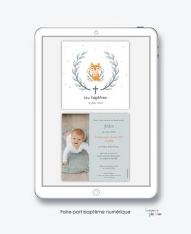 faire-part baptême numérique-faire part électronique-faire part numérique-imprimable-pdf numérique-faire part connecté-couronne-renard-croix-champêtre-photo-faire part à imprimer-faire-part à envoyer par sms-mms-par mail-réseaux sociaux-whatsapp-facebook