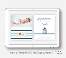 carte de remerciements naissance numérique-carte de remerciement électronique -pdf imprimable-pdf numérique-faire part connecté- Ourson Marin et rayures-à imprimer soi-même-A envoyer via les réseaux sociaux whatsapp-messenger-facebook-mms et mail