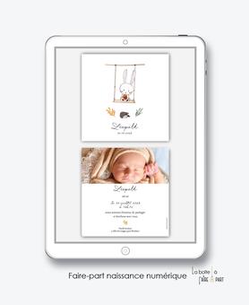 faire-part naissance garçon numérique-faire part électronique-faire part numérique-pdf numérique-faire part connecté-lapin et herisson-balançoire-animal-faire part à imprimer-faire-part à envoyer par mms-par mail-réseaux sociaux-whatsapp-facebook
