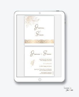 faire-part mariage numérique-faire part mariage digital-faire part numérique-pdf numérique-faire part mariage electronique -faire-part à envoyer par mms-par mail-réseaux sociaux-whatsapp-facebook-messenger-pivoines-dentelle-dorure-doré-format carré