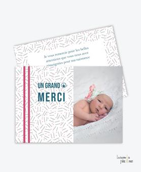 carte de remerciement naissance fille-petits traits-avec une belle photo
