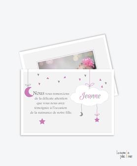 carte remerciement naissance fille nuage, etoile et lune avec photo