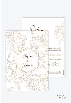 Faire-part mariage-chic-élégant-rafiné-pivoines-pivoines dorées-doré-fleurs