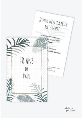 invitation anniversaire homme -carte d'invitation anniversaire homme 20ans-30ans-40ans-50ans-60ans-70ans-jungle-tropical-exotique-palmier-feuille de palmier pois marron