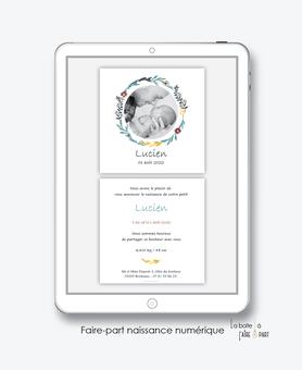 faire-part naissance garçon numérique-faire part naissance digital-faire part numérique-pdf numérique-faire part connecté-couronne champêtre-fleurs-blé-faire-part à envoyer par sms-mms- à envoyer par mail-réseaux sociaux-whatsapp-messenger-via smartphone