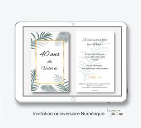 Invitation anniversaire femme numérique-Invitation électronique-Invitation numérique-imprimable-pdf numérique-Invitation connecté-Invitation anniversaire à envoyer par mms-par mail-réseaux sociaux-whatsapp-facebook-jungle-tropical-exotique-palmier-doré