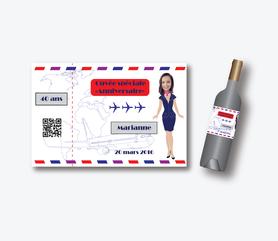 Etiquette de vin anniversaire femme coloré