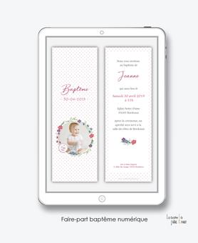 faire-part bapteme fille numérique-Faire-part baptême digital-électronique-pdf- Couronne Fleuris-fleurs-à imprimer soi-même-A envoyer par sms ou mms