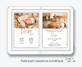 faire-part naissance fille numérique-faire part électronique-faire part numérique-imprimable-pdf numérique-faire part digital-pictogrammes-ecriture dorée-photo-faire-part à envoyer par sms-mms-par mail-réseaux sociaux-whatsapp-facebook