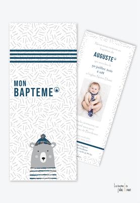faire part baptême garçon pas cher-ourson-animal-animaux-ours marin-bleu et gris-rayure marine-format carré-avec photo-ours-theme marin