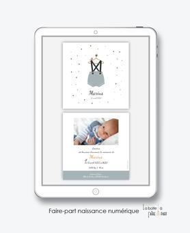 faire-part naissance garçon numérique-faire part digital-faire part numérique-imprimable-pdf numérique-faire part connecté-petit habit -vetement-bloomer bleu-faire-part à envoyer par sms-mms-par mail-réseaux sociaux-whatsapp-facebook- via smartphone