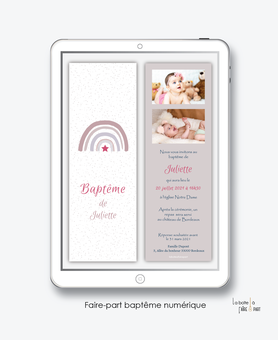 faire-part baptême fille numérique-Faire-part baptême digital-électronique-pdf-arc en ciel-etoile- à imprimer soi-même-motif pois -polaroid-format marque page-reseaux sociaux