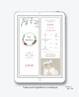 faire-part baptême numérique-faire part baptême digital-faire part numérique-pdf imprimable-pdf numérique-faire part connecté-bohème chic-couronne-faire part à imprimer soi-même-faire-part à envoyer par sms ou mms-faire-part à envoyer par mail