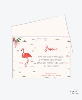 carte remerciement naissance fille flamant rose tropical