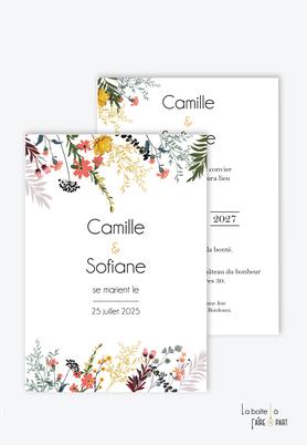 Faire-part mariage-champêtre-bohème-végétal-fleurs des champs-végétation-chardon-oeillets