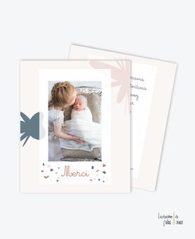 carte de remerciement naissance fille-motifs abstrait- motif terrazzo-couleur rose, bleu beige