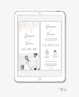 faire-part mariage numérique-faire part mariage digital-faire part numérique-faire part mariage electronique -faire-part à envoyer par mms-par mail-réseaux sociaux-whatsapp-facebook-messenger- pictogrammes-tiges de feuilles-chic-elegance-rafiné