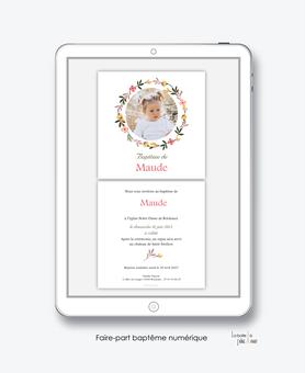 faire-part baptême fille numérique-faire part baptême électronique-faire part numérique-imprimable-pdf numérique-faire part connecté-couronne de fleurs-religieux-faire-part à envoyer par mms-à envoyer par mail-réseau sociau
